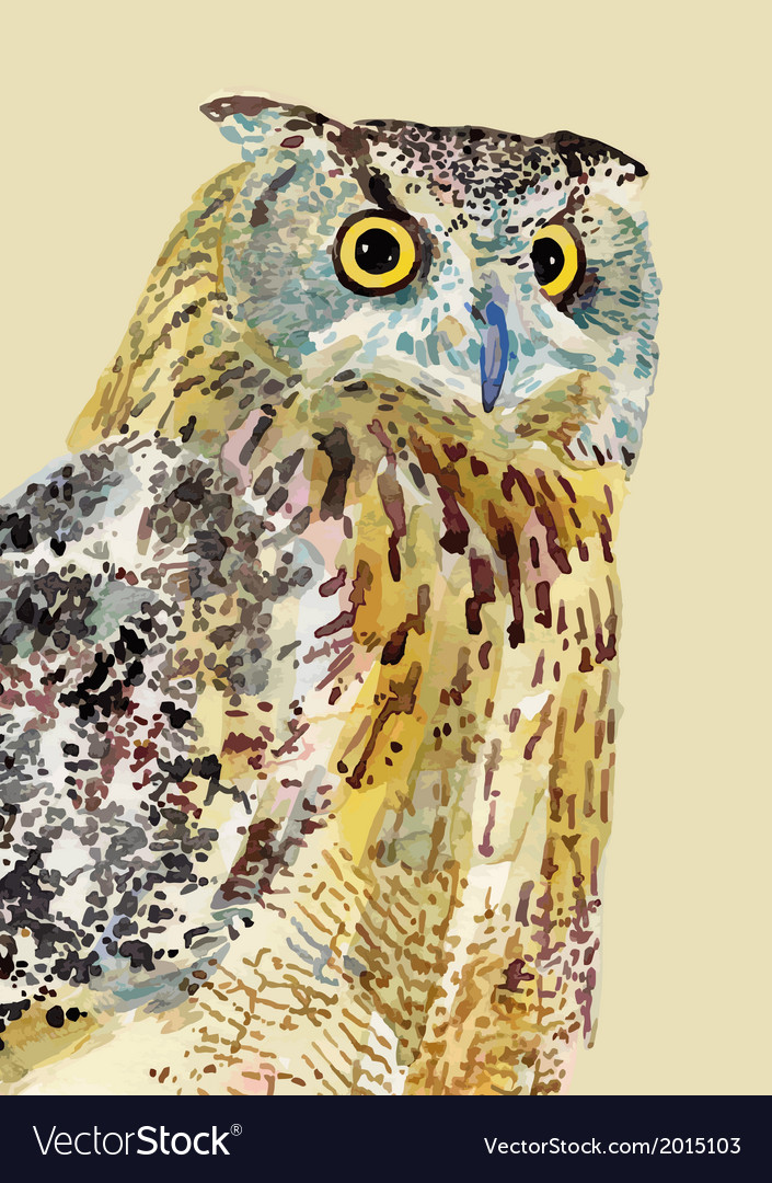 Watercolor painting of bird owl vector | Price: 1 Credit (USD $1)
