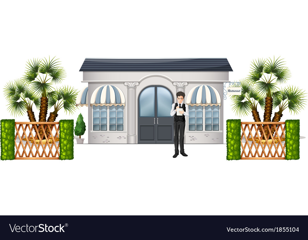 A waiter waiting for customers vector | Price: 1 Credit (USD $1)