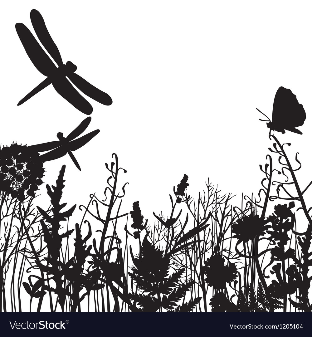 Black and white silhouettes of nature vector | Price: 1 Credit (USD $1)