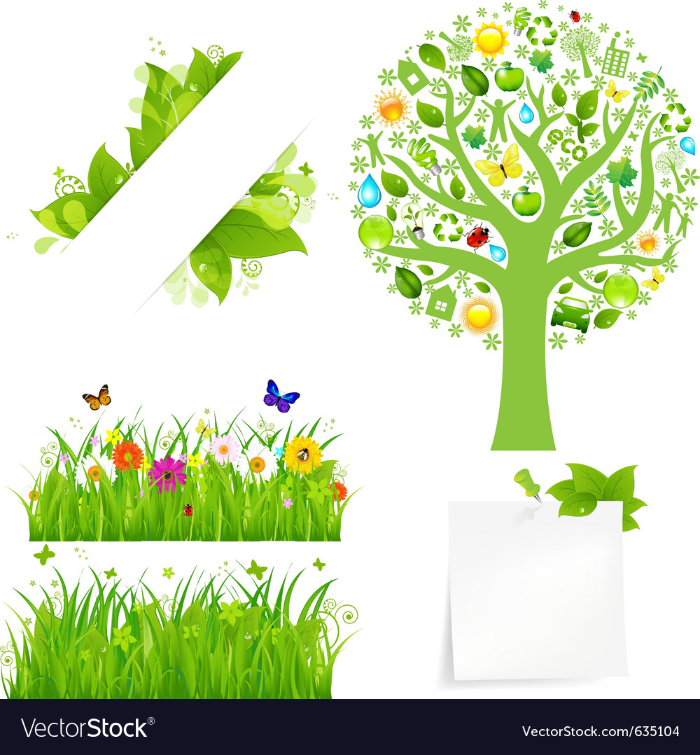 Flowers and tree vector | Price: 1 Credit (USD $1)