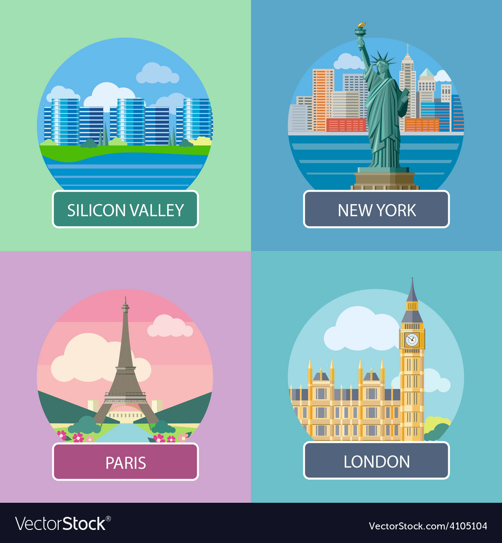 London silicon valley new york and paris vector | Price: 1 Credit (USD $1)