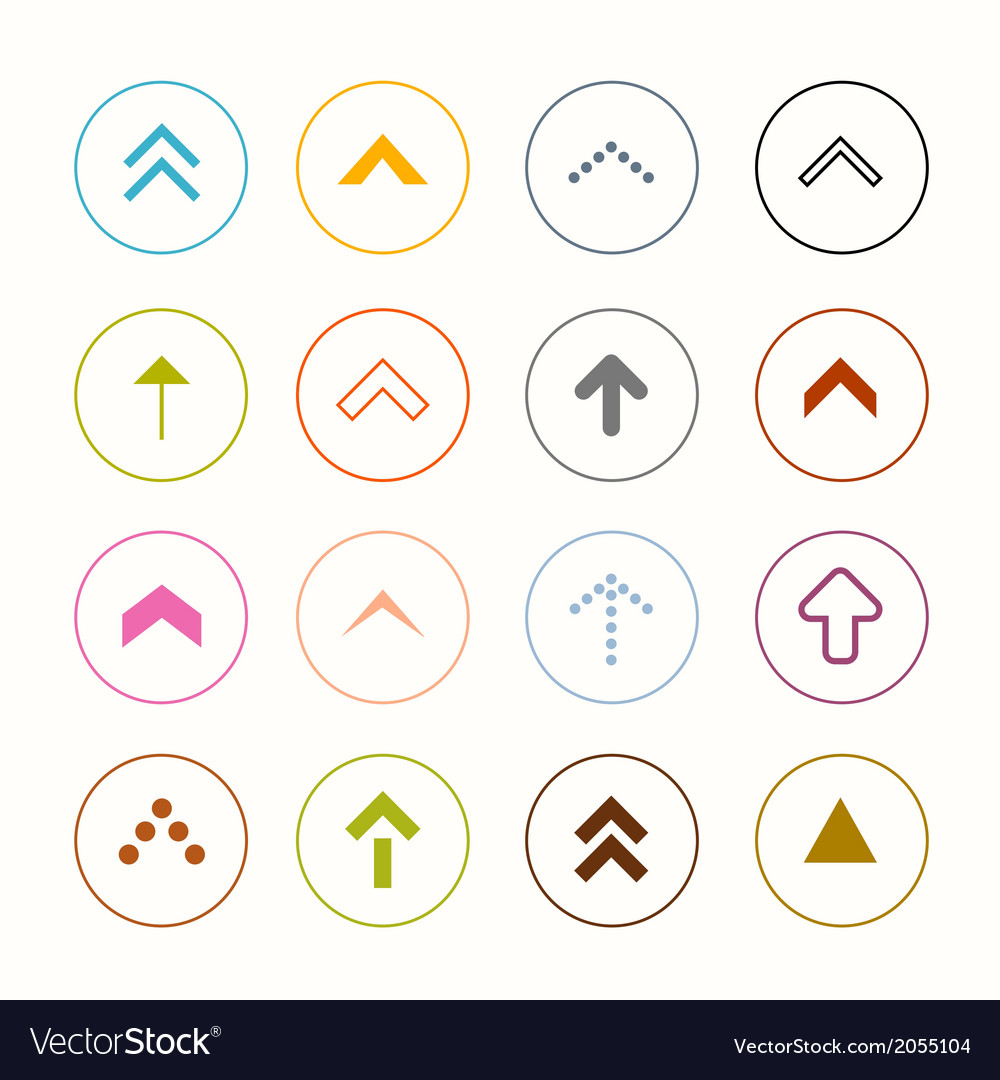 Outline arrows set in circles isolated on white vector | Price: 1 Credit (USD $1)