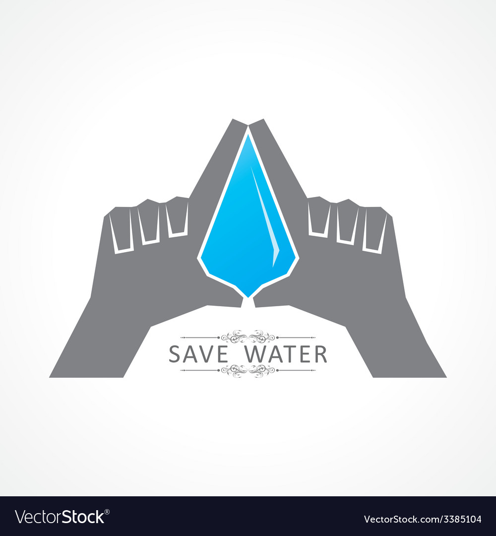 Save nature concept with water drop vector | Price: 1 Credit (USD $1)