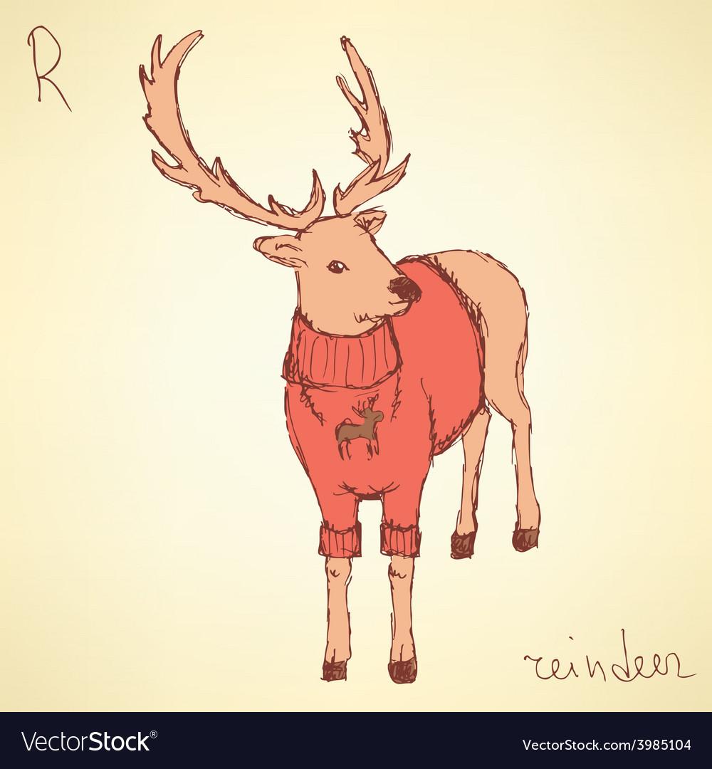 Sketch fancy reindeer in vintage style vector | Price: 1 Credit (USD $1)