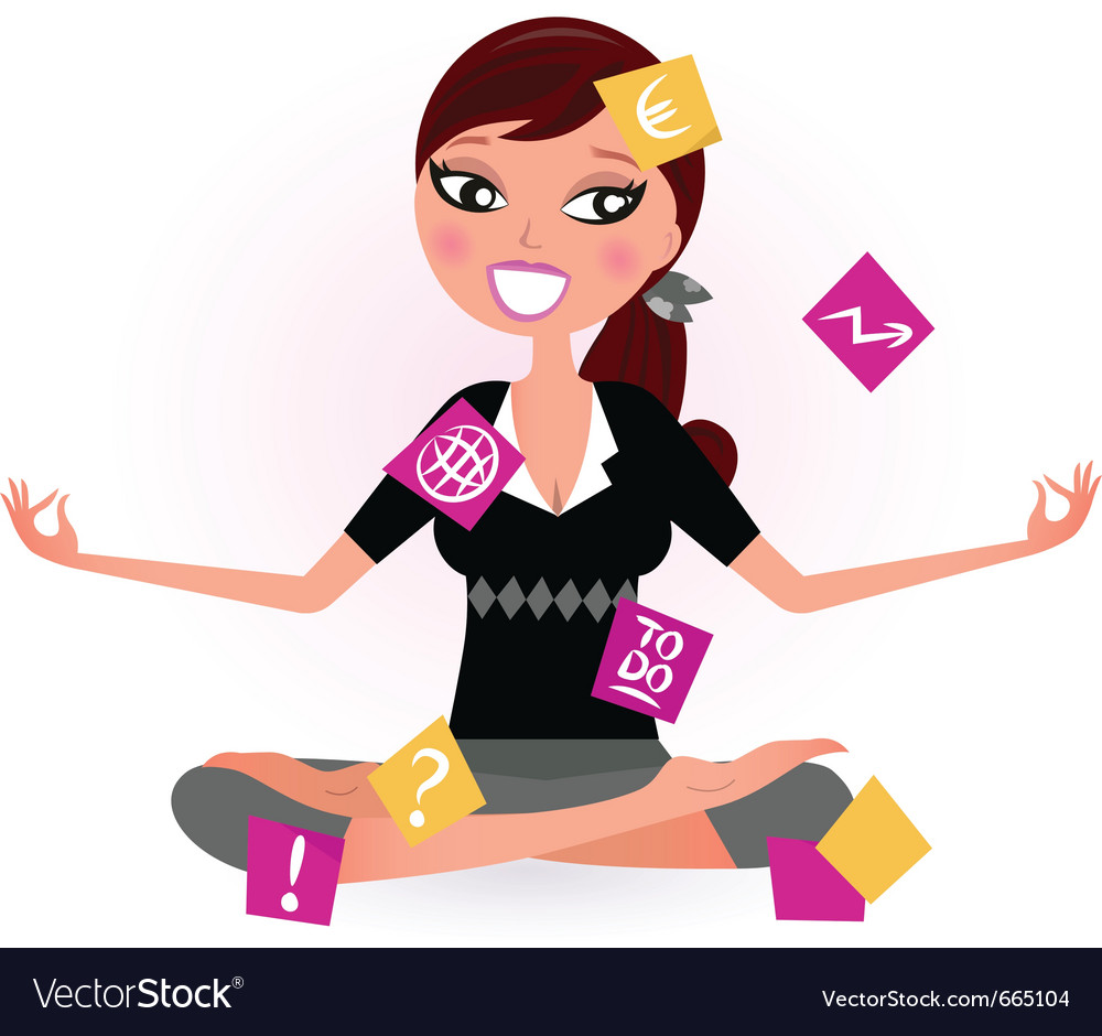 Stressed business woman vector | Price: 1 Credit (USD $1)