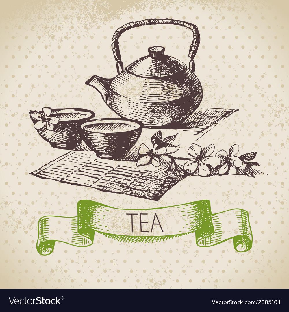 Tea vintage background vector | Price: 1 Credit (USD $1)