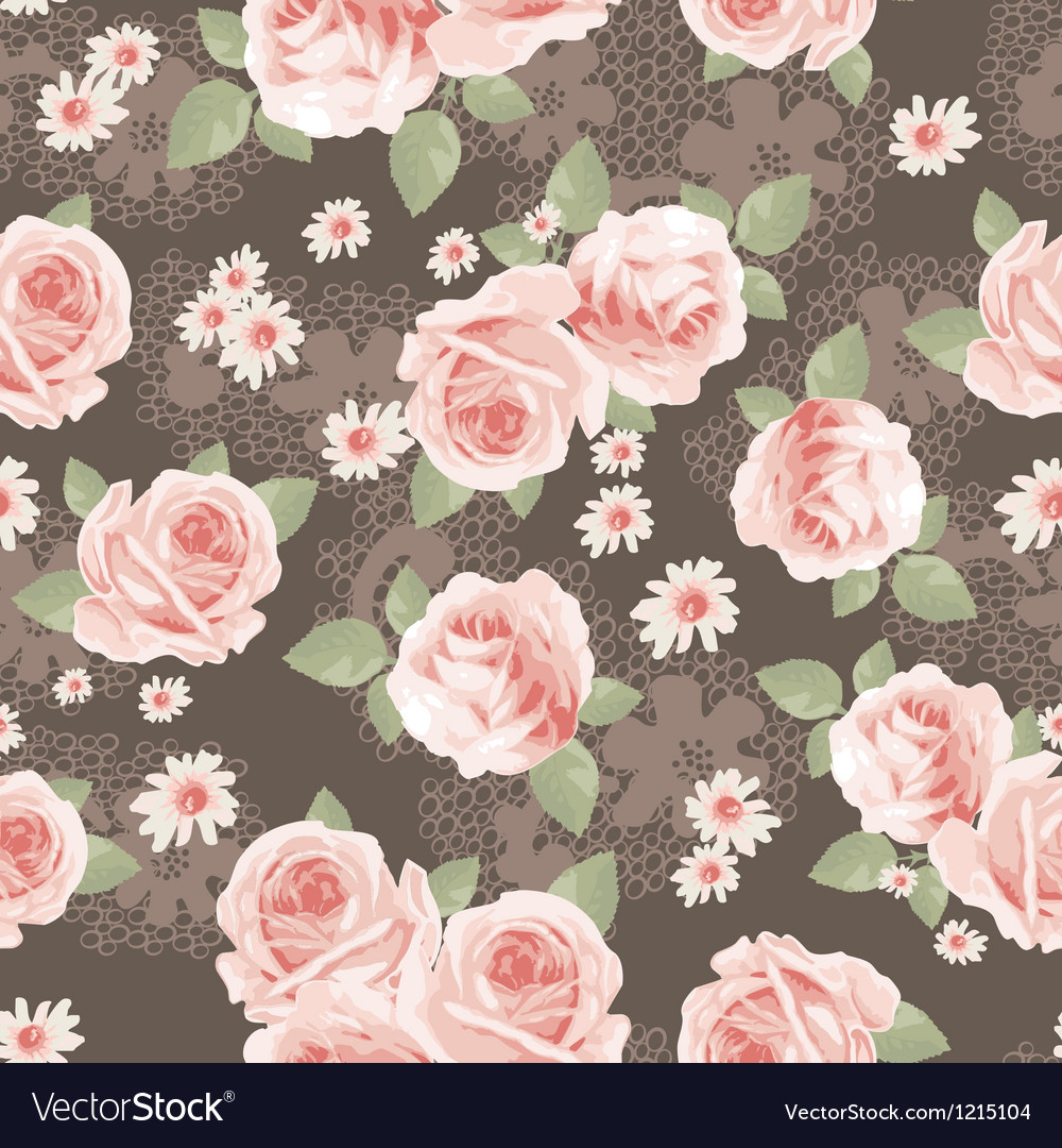 Vintage classic roses seamless background vector | Price: 1 Credit (USD $1)
