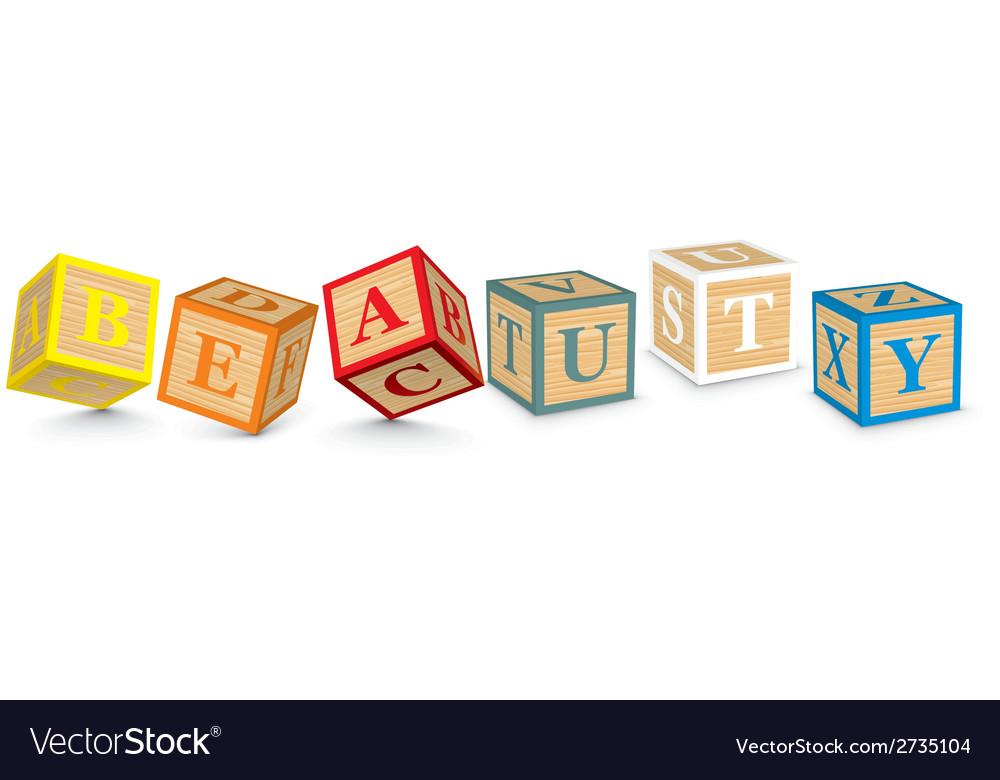 Word beauty written with alphabet blocks vector | Price: 1 Credit (USD $1)
