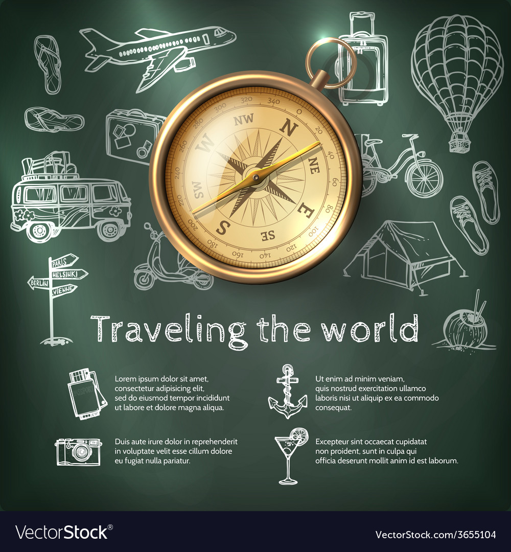 World travel poster with compass vector | Price: 1 Credit (USD $1)