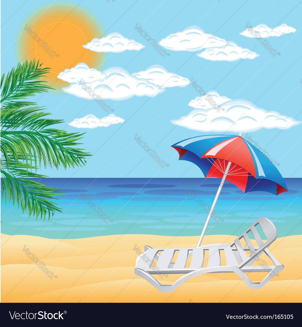 Beach scene vector | Price: 1 Credit (USD $1)
