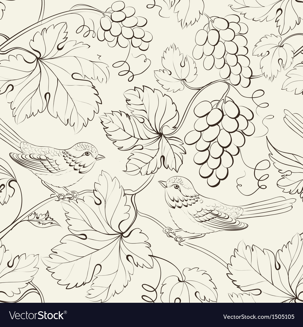 Bird and grape seamless pattern vector | Price: 1 Credit (USD $1)