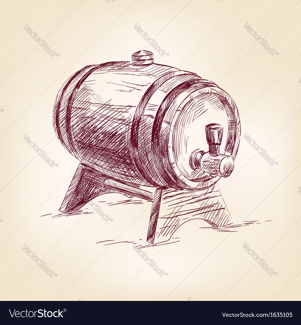 Cask of wine drawing vector | Price: 1 Credit (USD $1)