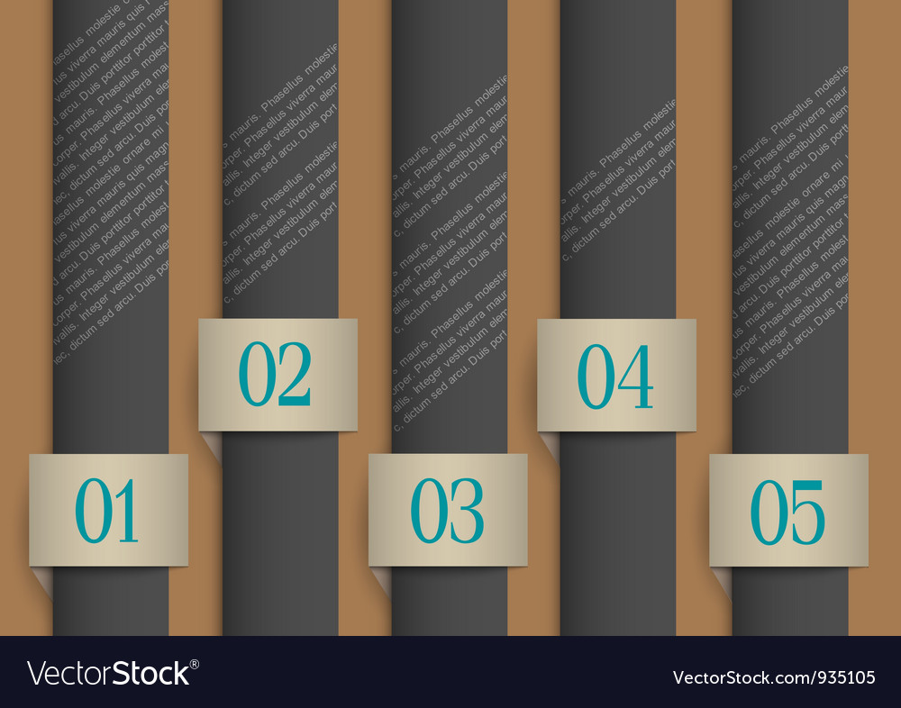 Dark paper numbered banners vector | Price: 3 Credit (USD $3)
