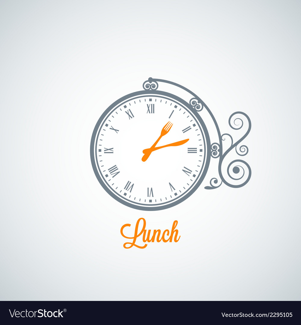 Lunch clock concept background vector | Price: 1 Credit (USD $1)