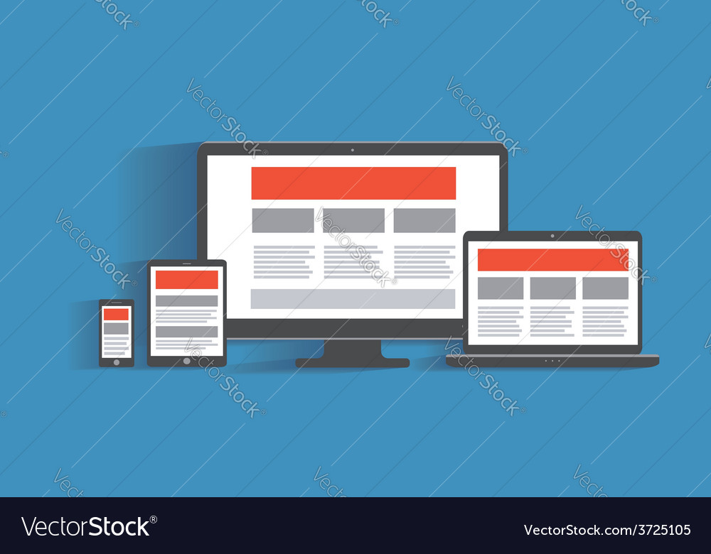 Responsive web design concept desktop computer vector | Price: 1 Credit (USD $1)