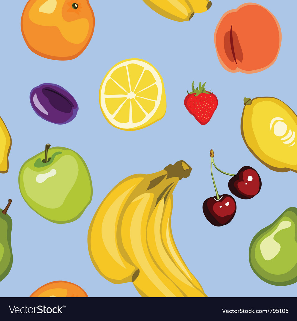 Seamless summer fruit background vector | Price: 1 Credit (USD $1)