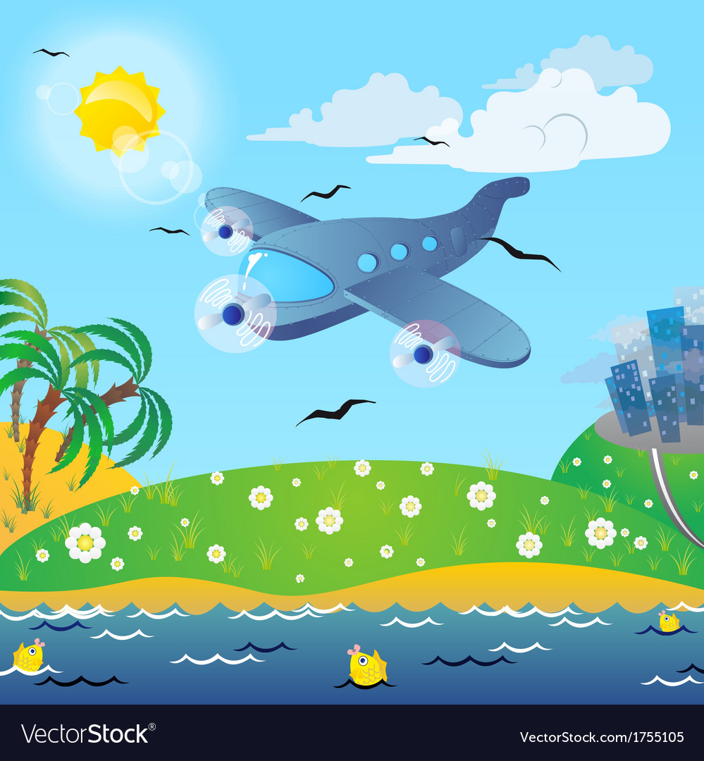 The traveling on the airplane vector | Price: 1 Credit (USD $1)