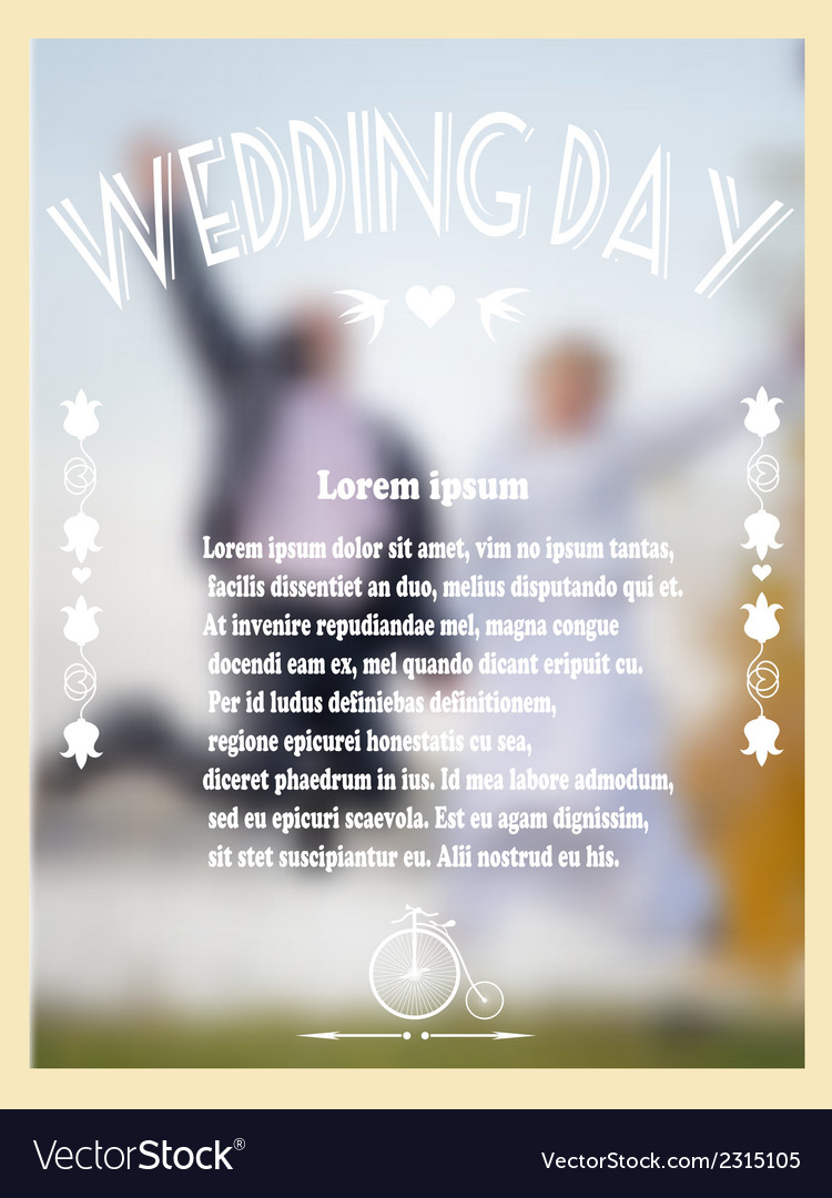Vintage wedding card with bride and groom vector | Price: 1 Credit (USD $1)