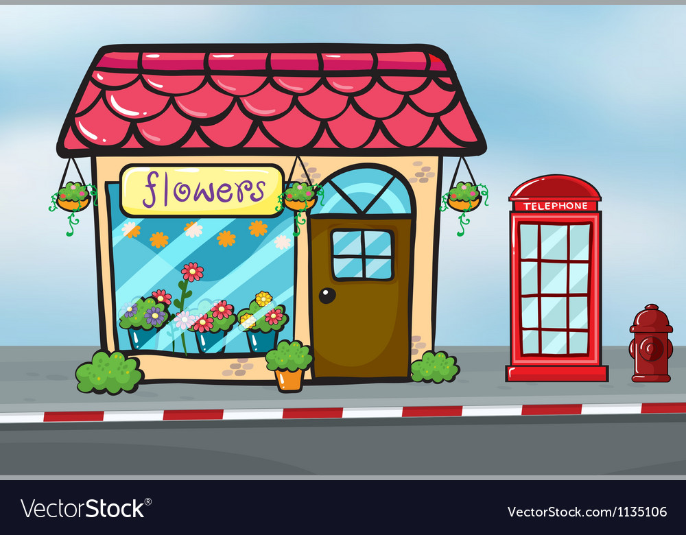 A flower shop and a callbox vector | Price: 1 Credit (USD $1)