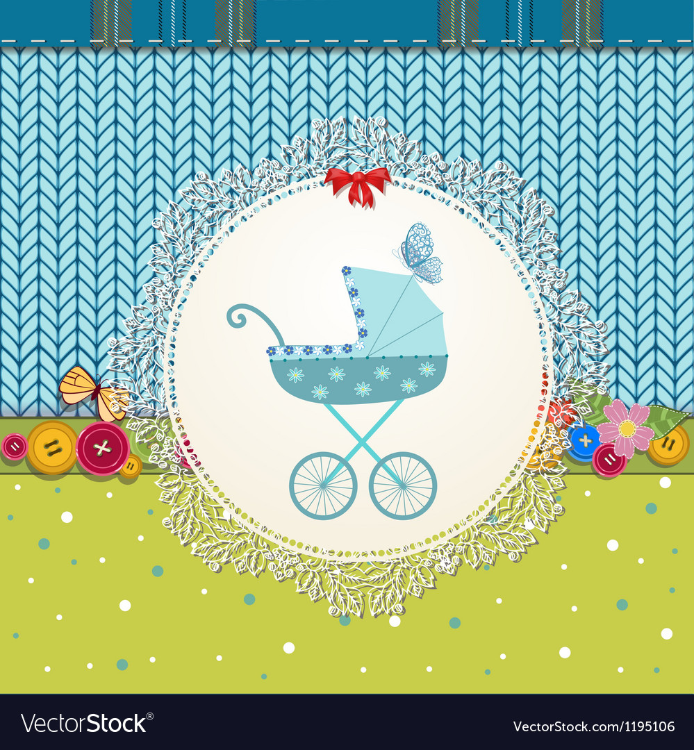 Baby pram card vector | Price: 1 Credit (USD $1)