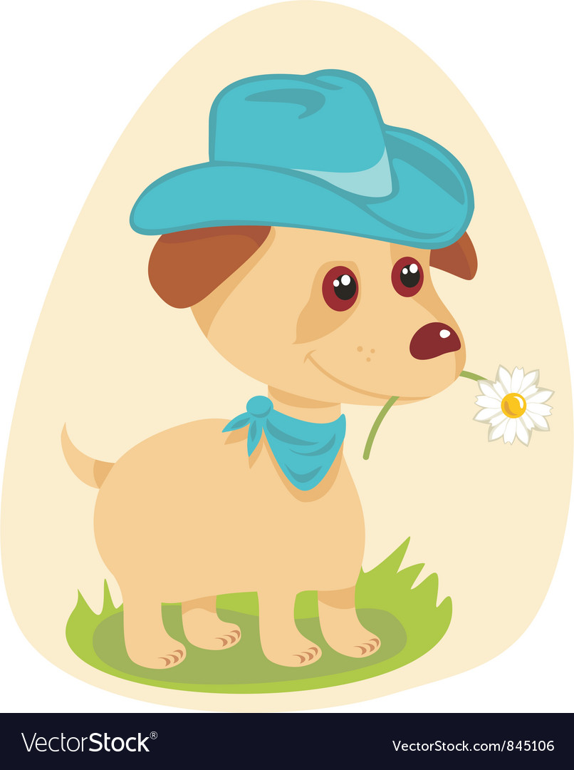 Cowboy puppy vector | Price: 1 Credit (USD $1)