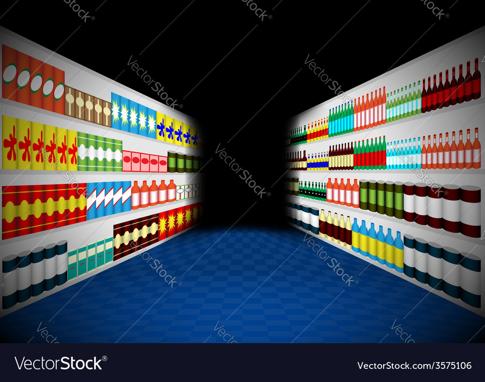 Dark supermarket shelves corridor vector | Price: 1 Credit (USD $1)