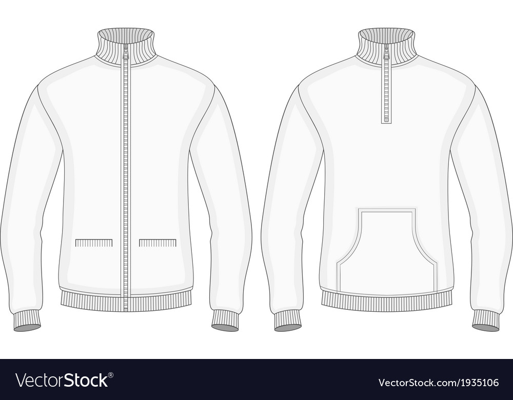 Mens roll-neck sweaters with zip and pockets vector | Price: 1 Credit (USD $1)