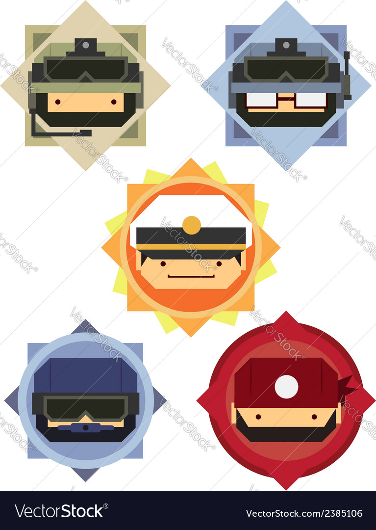 Military soldier officer cartoon icons vector | Price: 1 Credit (USD $1)