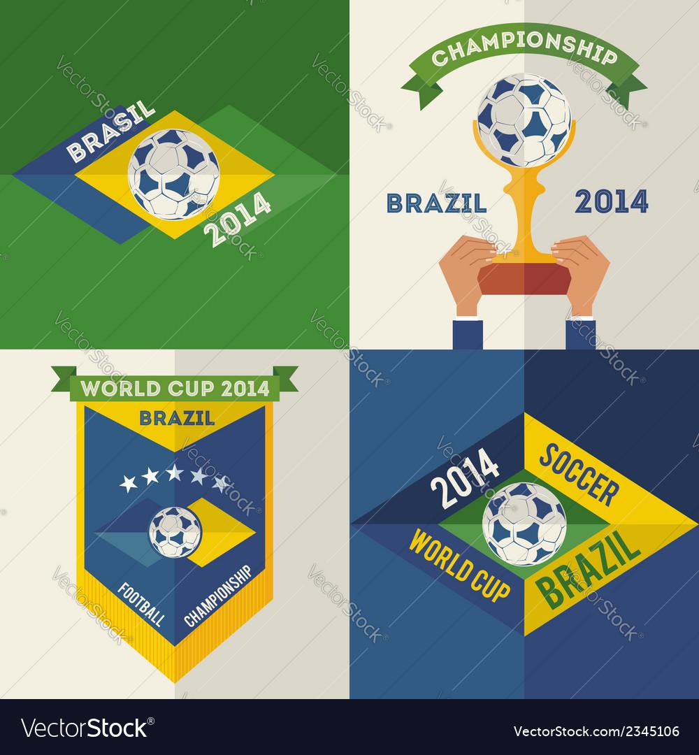 Set of flat design brazilian soccer labels vector | Price: 1 Credit (USD $1)