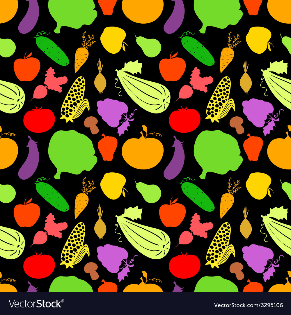 Vegetables seamless pattern dark background with vector | Price: 1 Credit (USD $1)