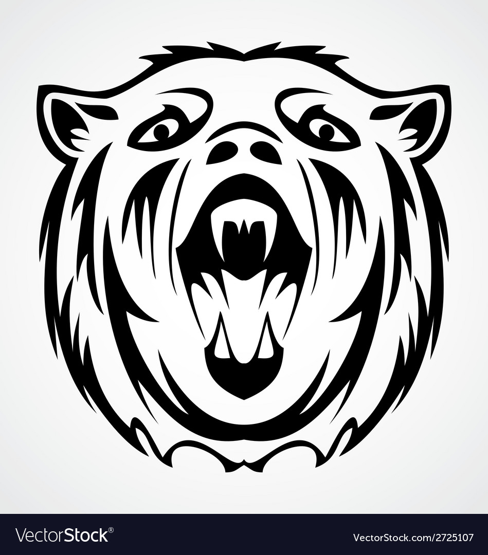 Bear face tattoo design vector | Price: 1 Credit (USD $1)