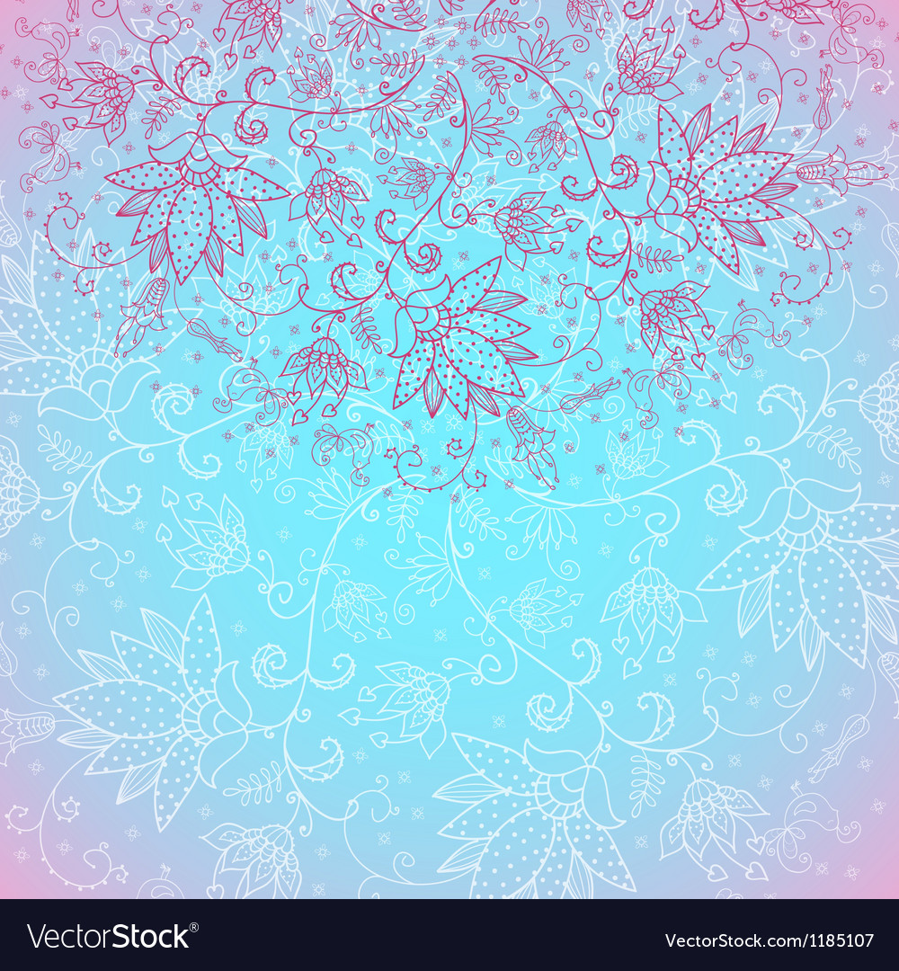 Blue invitation card with floral drawing hand vector | Price: 1 Credit (USD $1)