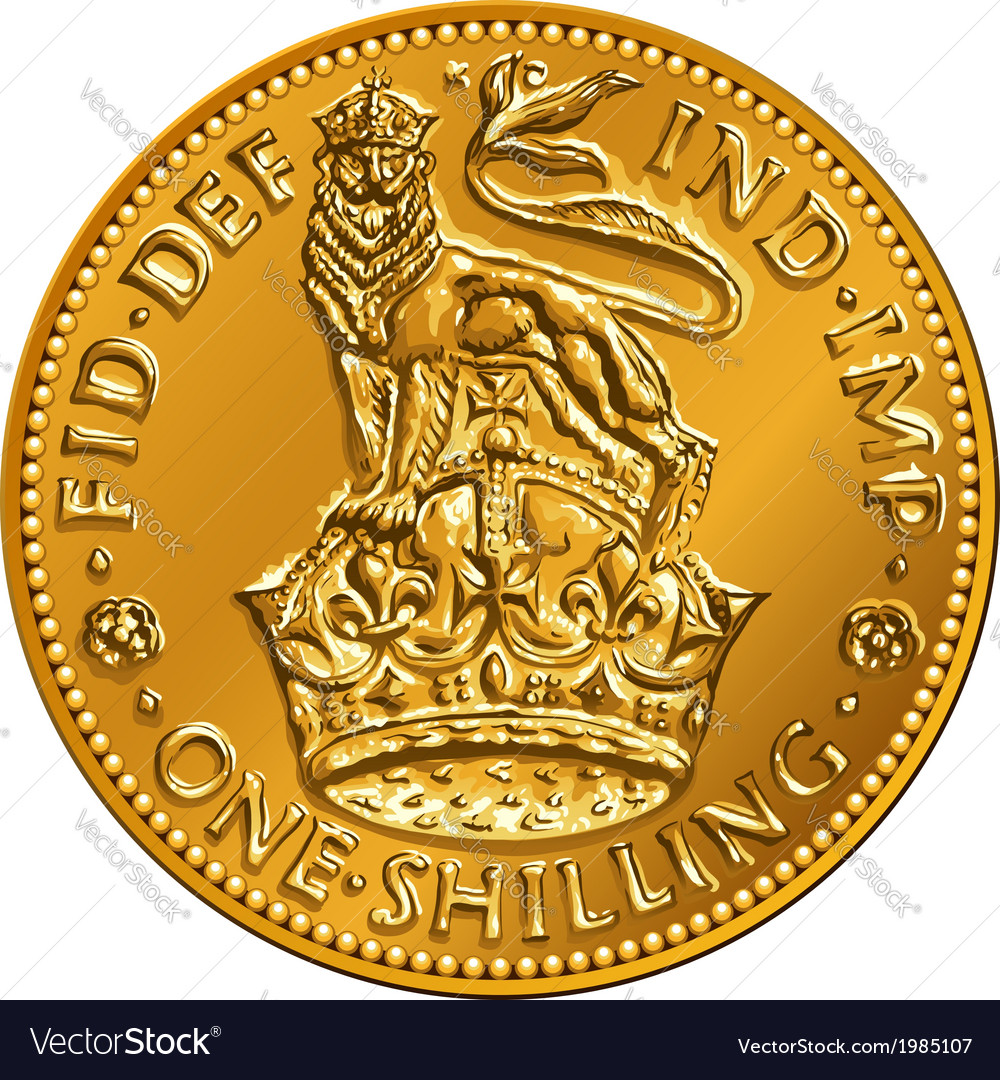 British money gold coin one shilling vector | Price: 1 Credit (USD $1)