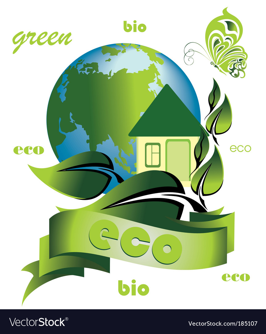 Ecology background with ecological home vector | Price: 1 Credit (USD $1)