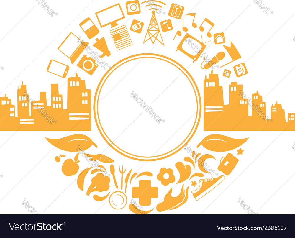 Modern city life silhouette vector | Price: 1 Credit (USD $1)