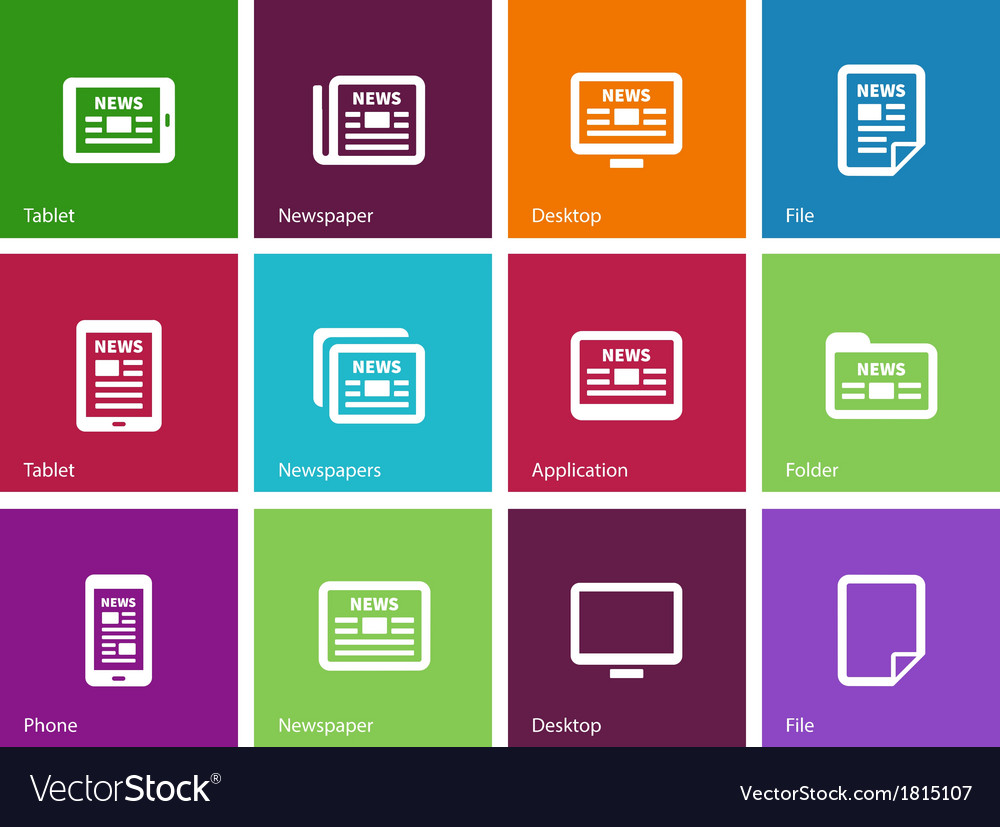 Newspaper icons on color background vector | Price: 1 Credit (USD $1)