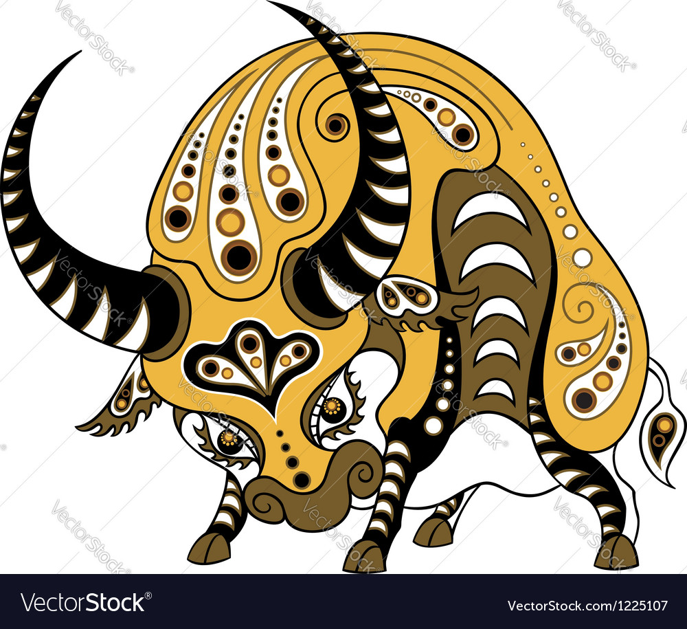 Ox in decorative style isolated on white vector | Price: 1 Credit (USD $1)