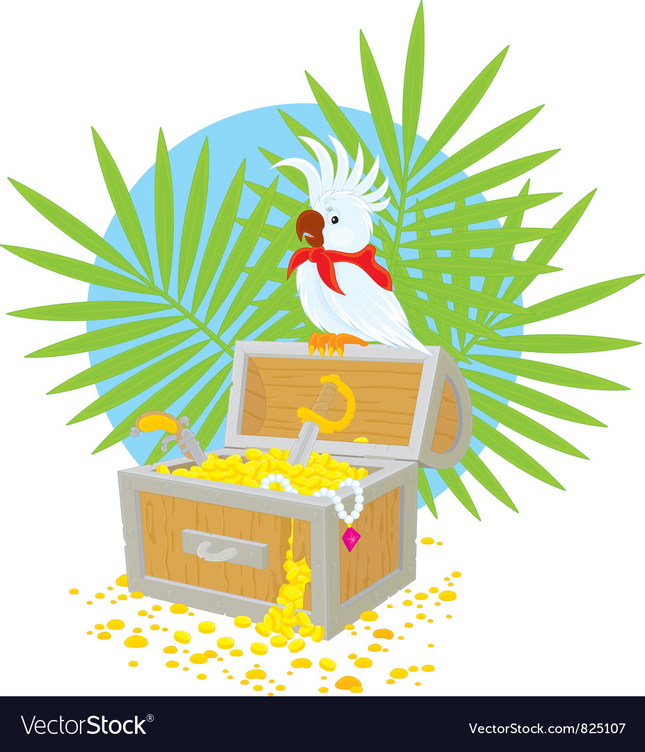 Pirate parrot and treasure chest vector | Price: 3 Credit (USD $3)