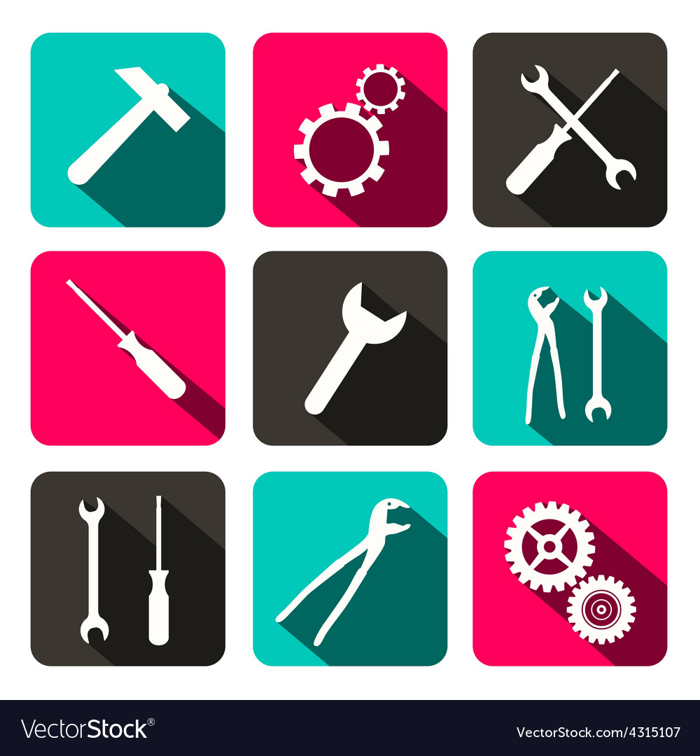 Repair technology icons - web buttons with cogs vector | Price: 1 Credit (USD $1)