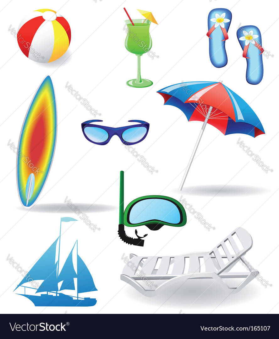 Set from beach vector | Price: 1 Credit (USD $1)