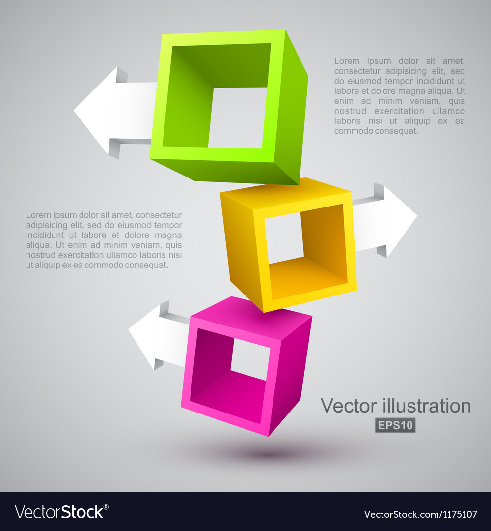 Three empty boxes with arrows 3d vector | Price: 1 Credit (USD $1)