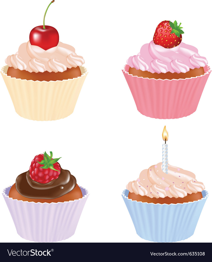 4 cupcakes vector | Price: 1 Credit (USD $1)