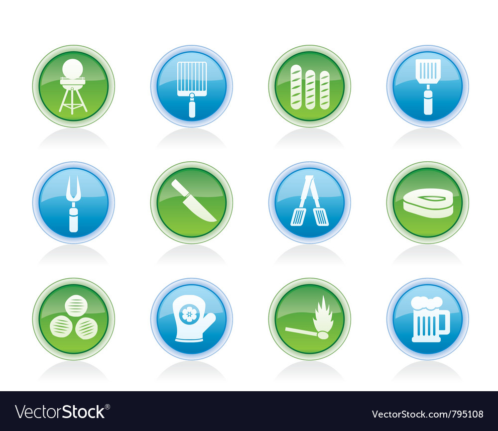 Barbecue and grill icons vector | Price: 1 Credit (USD $1)