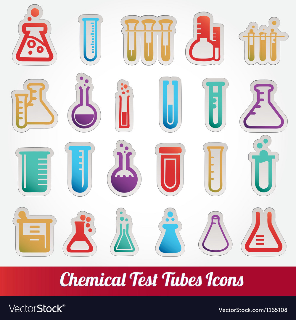 Chemical test tubes icons vector | Price: 1 Credit (USD $1)