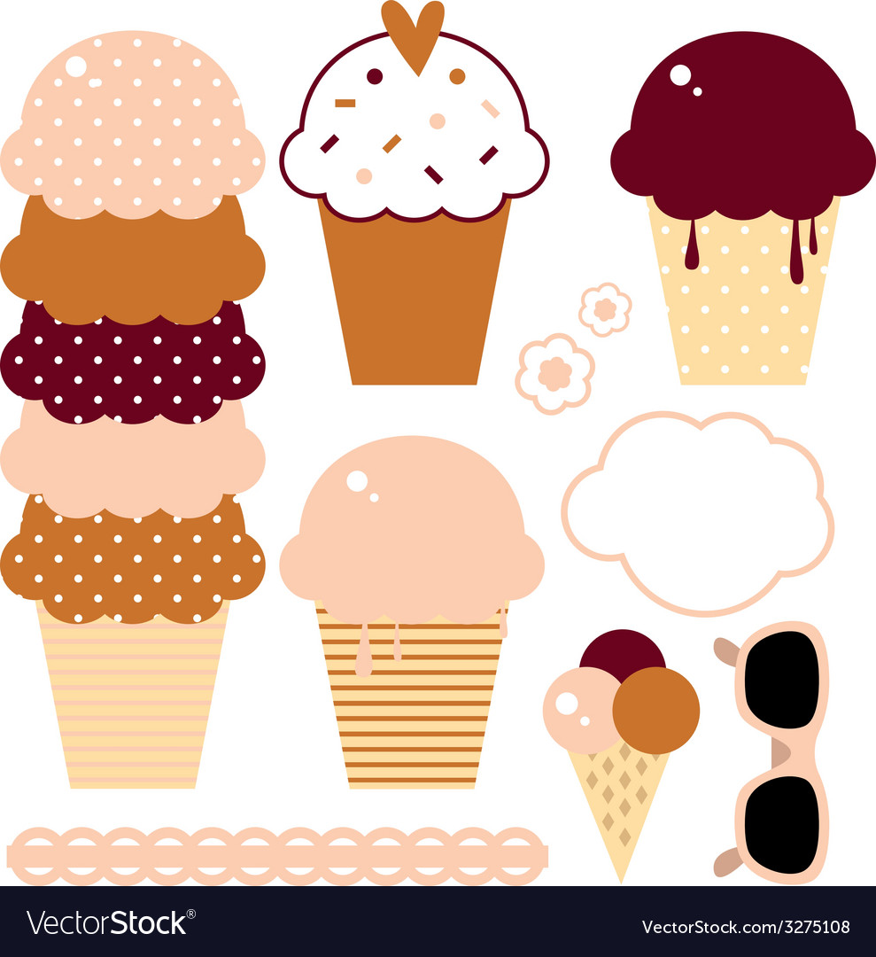 Cute beautiful ice cream set isolated on white vector | Price: 1 Credit (USD $1)