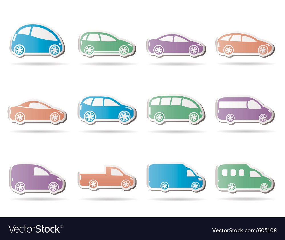 Different types of cars icons vector | Price: 1 Credit (USD $1)
