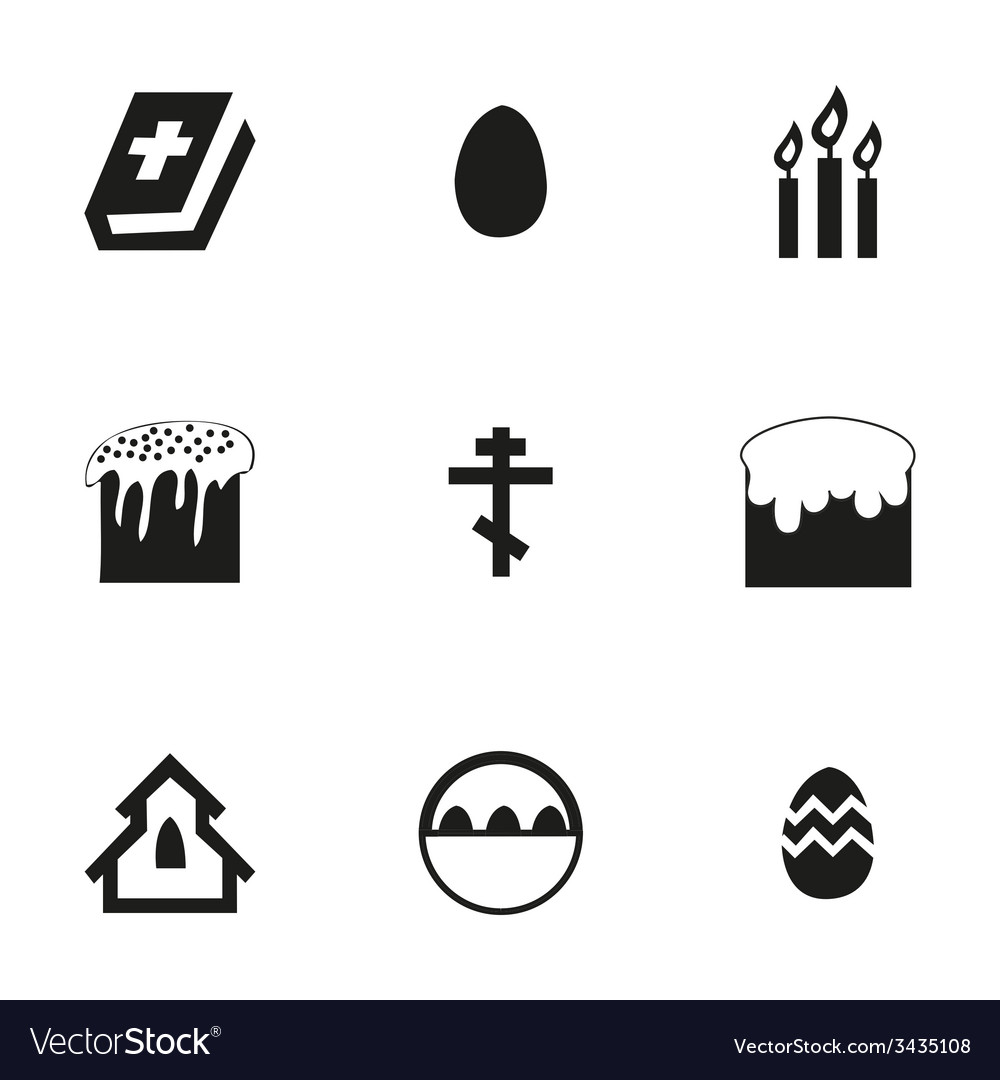 Easter icons set vector | Price: 1 Credit (USD $1)