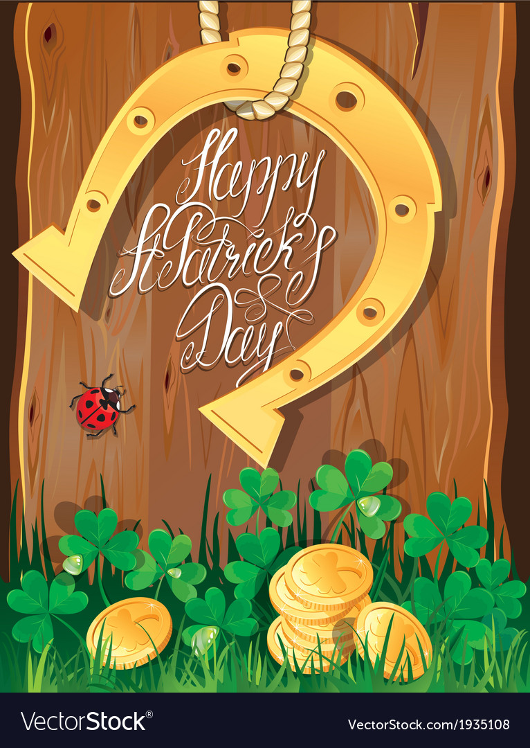 Happy st patricks day shamrock horseshoe vector | Price: 1 Credit (USD $1)