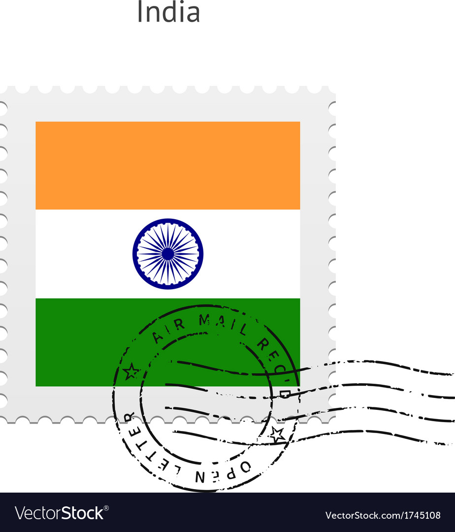 India flag postage stamp vector   Price: 1 Credit (USD $1)