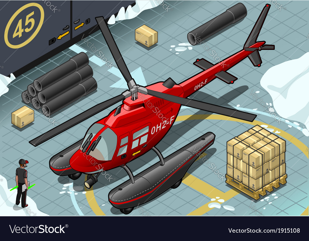 Isometric arctic emergency helicopter in front vector | Price: 1 Credit (USD $1)